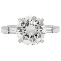 GIA 2.97 Carat Round Brilliant Cut Diamond in Platinum Setting