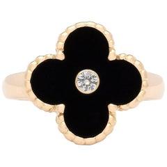 Estate Van Cleef & Arpels Alhambra Onyx and Diamond Ring