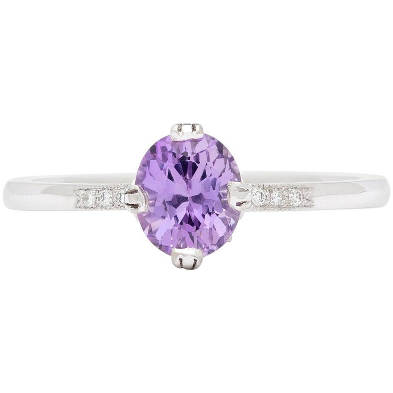GIA Unheated Purple-Pink Natural Sapphire in Platinum French Ring