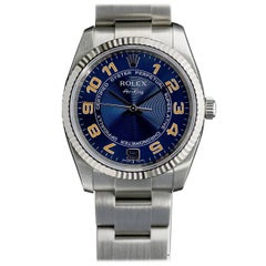 Rolex stainless steel Oyster Perpetual Air King Blue Dial Wristwatch Ref 114234