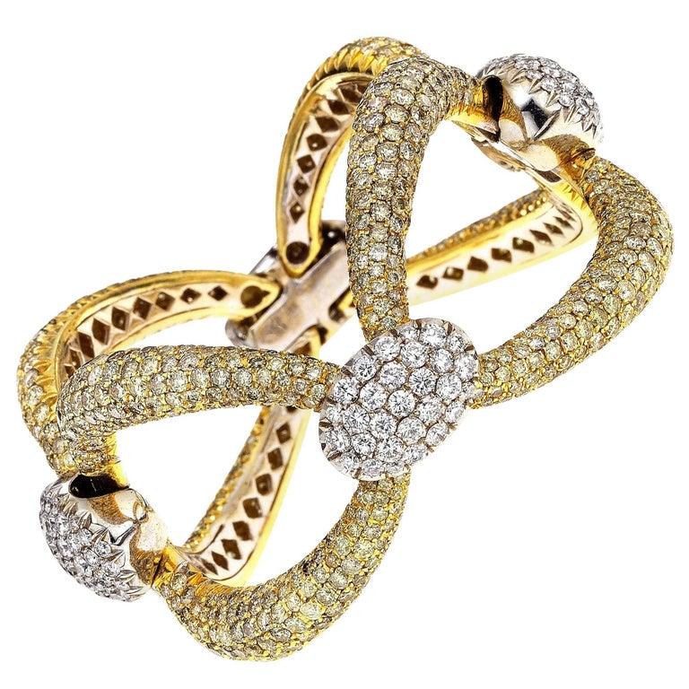 Yellow Diamond and White Diamond White Gold and Yellow Gold Link Bracelet