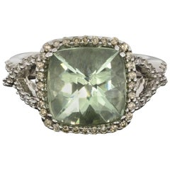 Effy Cushion Green Amethyst and Diamond Halo Twist White Gold Ring