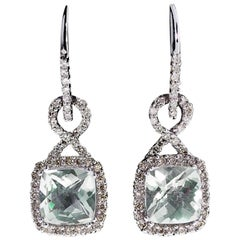 Effy Green Amethyst and Diamond Halo Twist Dangle White Gold Earrings