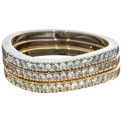 Round Diamond Wavy Design Multi-Tone Gold Set of Three Stackable Rings