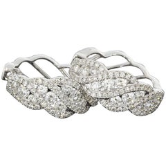 Ribbon Twist Round Diamond White Gold Hoop Earrings