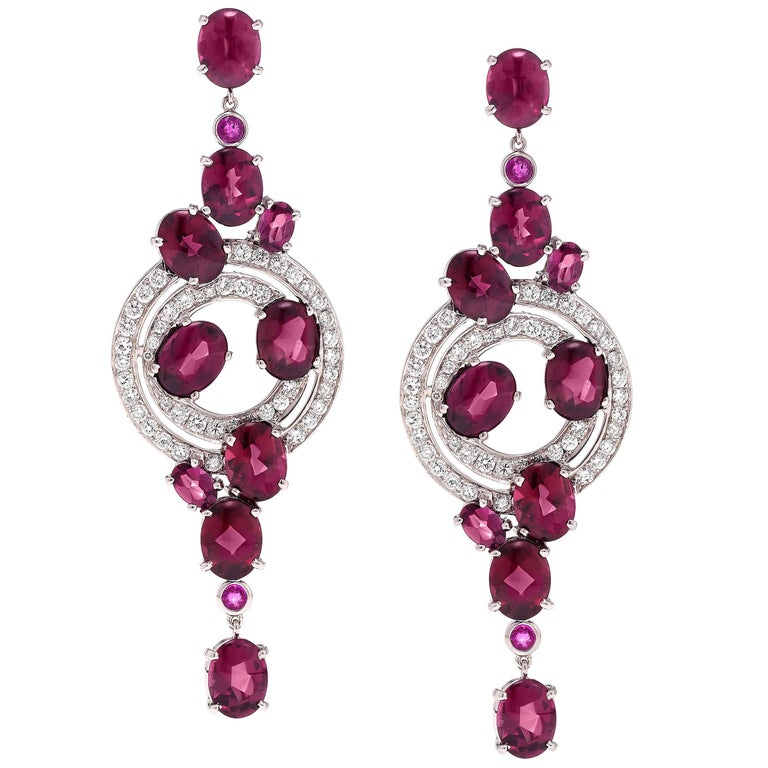 Rhodolite Pink Sapphire and Diamond White Gold Drop Earrings