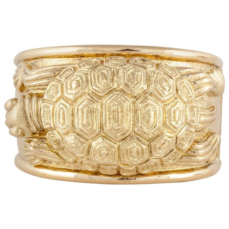 David Webb 18 Karat Turtle Cuff Bracelet