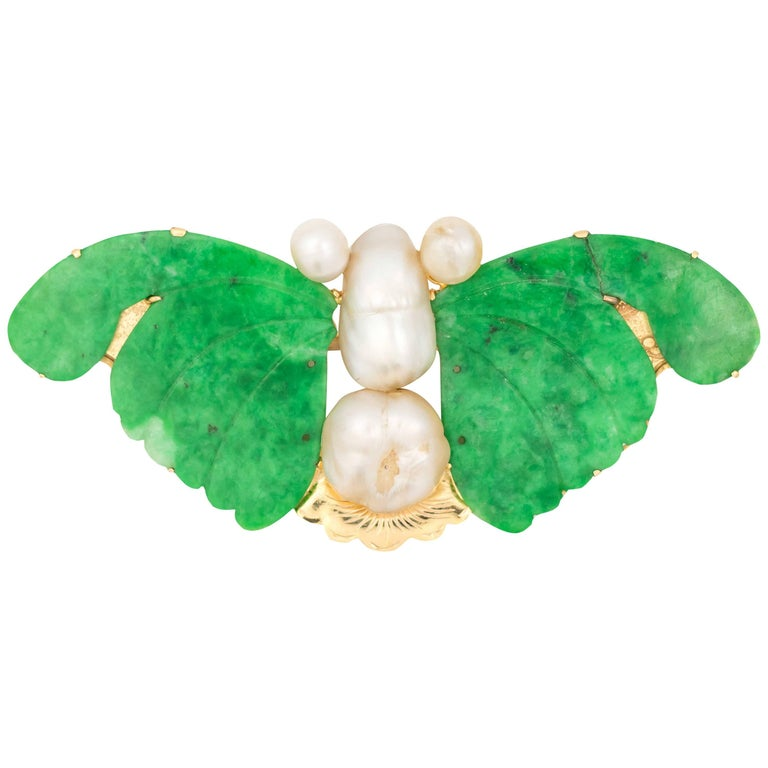 1960s Vintage Butterfly Jade, Pearl and 18K Gold Lapel Pin Brooch
