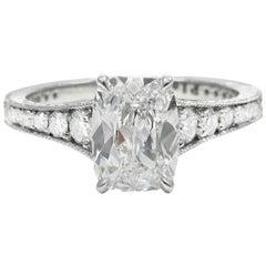 GIA Report  D color  1.09 Cushion Cut Diamond Platinum Engagement Ring