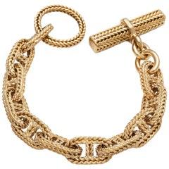 Hermes George L'Enfant Chaine D'Ancre Gold Toggle Link Bracelet