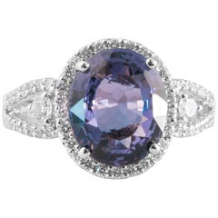 2 Carat Sapphire, Diamond and 18K Gold Ring