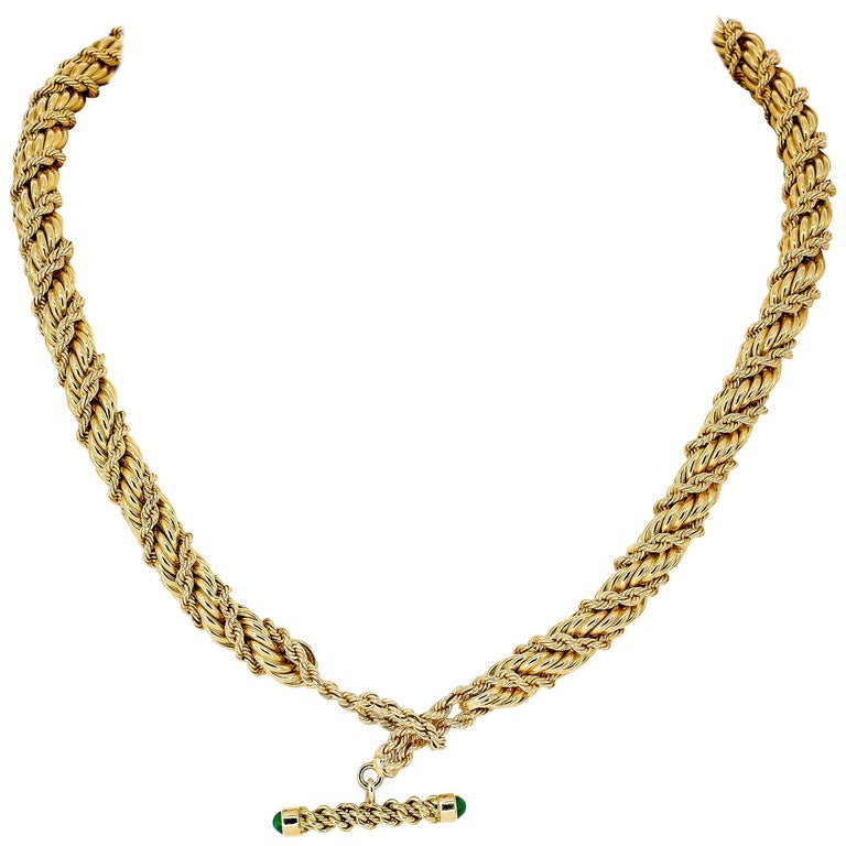 Tiffany & Co. Schlumberger Emerald and Gold Twisted Rope Necklace 1