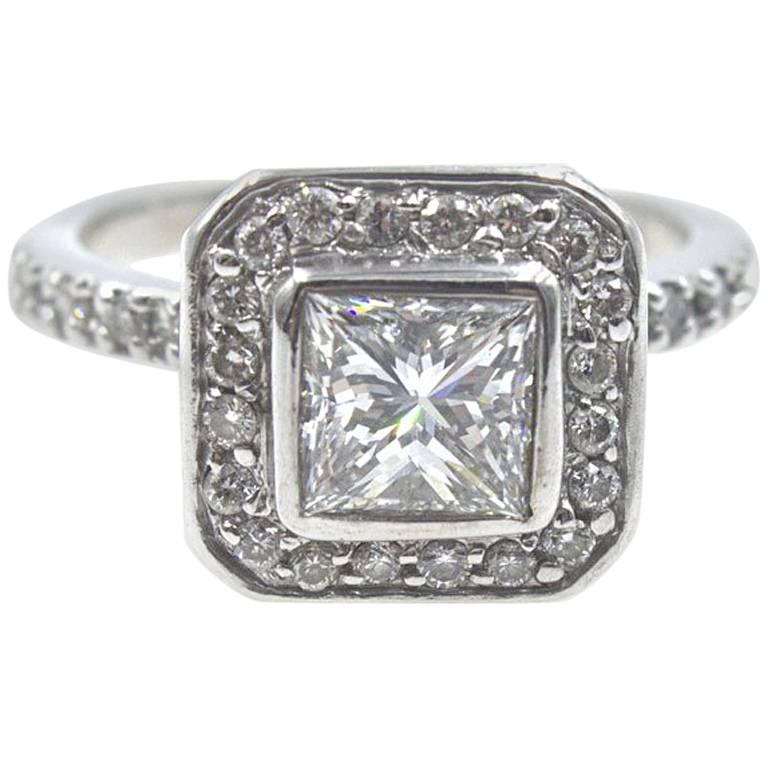 1 Carat Princess Cut Diamond Halo Engagement Ring GIA Certified F/SI1