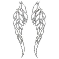 Angel Wing Micro-Pave Diamond White Gold Earrings