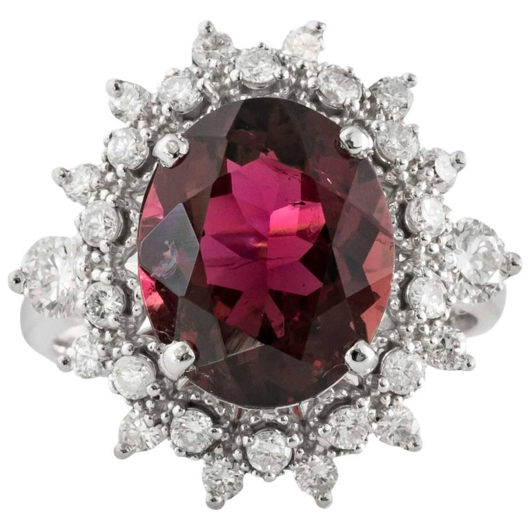 4 Carat Tourmaline, Diamond and 14K Gold Ring