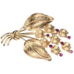Tiffany Ruby Floral Brooch in 18 Karat Yellow Gold