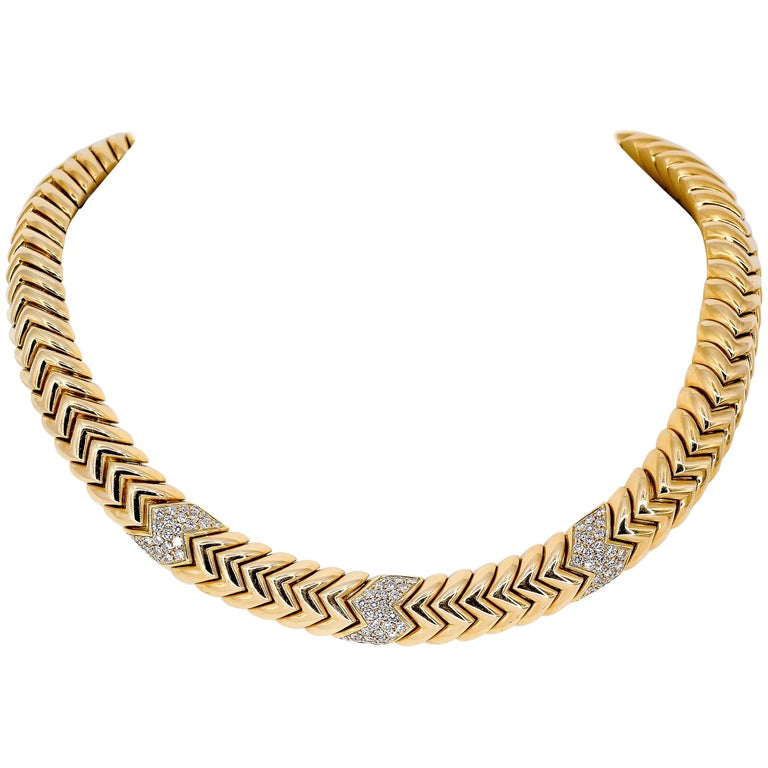 Bulgari Spiga Diamond and Gold Necklace For Sale