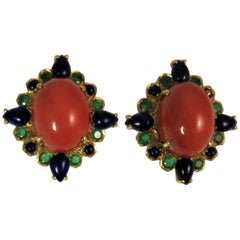 Salmon Colored Cabochon Coral Lapis  Emerald 18 Karat Yellow Gold Earrings