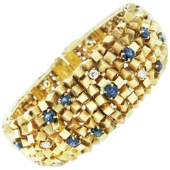 Modernist Design Sapphire and Diamond Bracelet