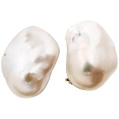 Pair of Clip on White Freshwater Cultured Baroque Pearl Earrings