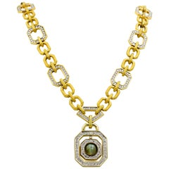 Bold  Diamond and Cats Eye Chrysoberyl 18 Karat Yellow Gold Necklace