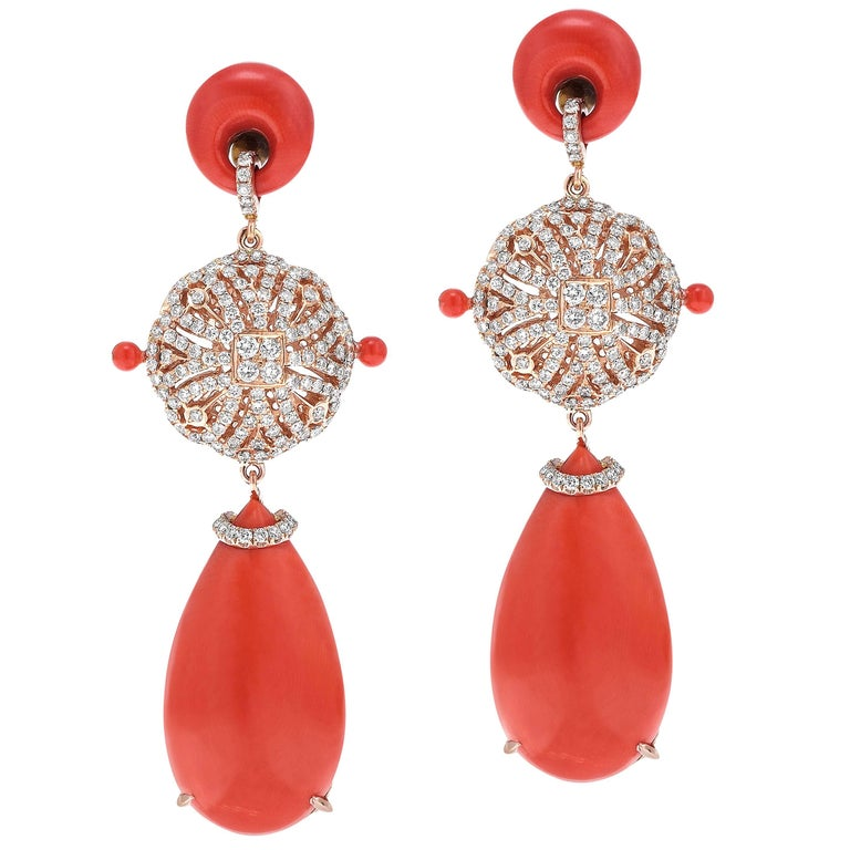 Coral and Diamond Rose Gold Earrings 1