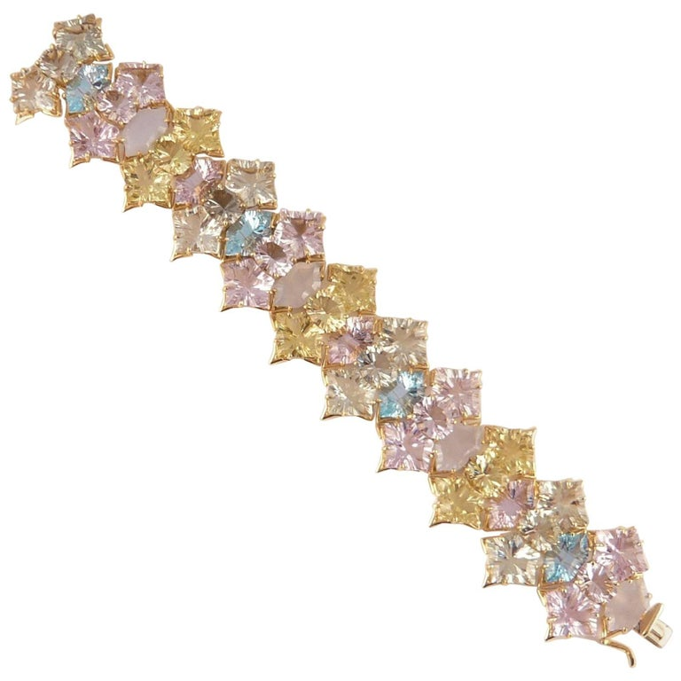 Tony Duquette Amethyst Lemon Quartz Topaz Chalcedony Statement Gold Bracelet For Sale