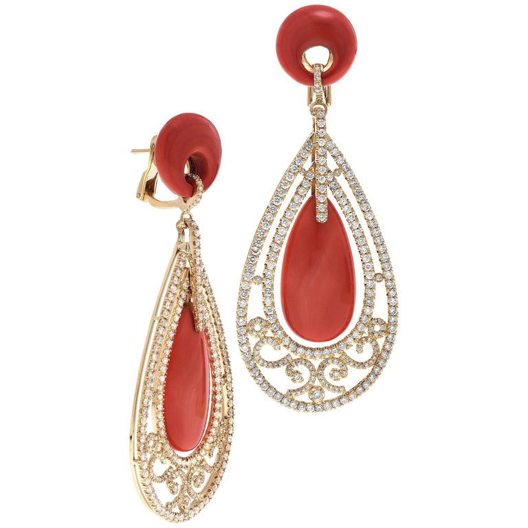 Coral and Pave Diamond Yellow Gold Chandelier Earrings