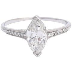 1.03 Carat Marquise Brilliant Diamond Engagement Ring