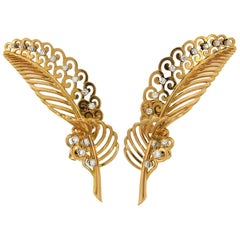 Diamond Yellow Gold Leaf Earrings