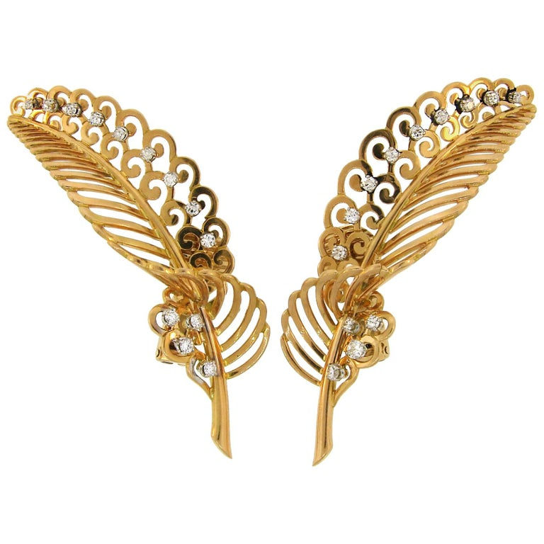 Diamond Yellow Gold Leaf Earrings For Sale