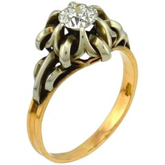 0.55 Carat Old European Cut Diamond 14 Karat Gold and Silver Engagement Ring