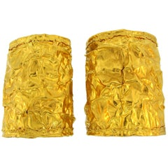 Pair of 22 Karat Yellow Gold Cuff Bracelets