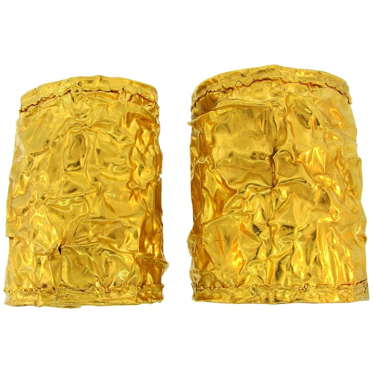 Pair of 22 Karat Yellow Gold Cuff Bracelets