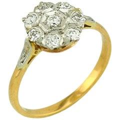 Antique Old European Cut Diamond Cluster 18 Karat Gold Engagement Ring