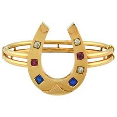 Victorian Horseshoe 14 Karat Rose Gold Bangle Bracelet