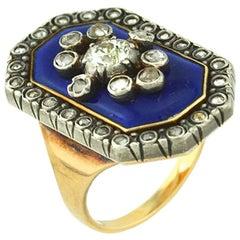 Victorian Blue Enamel Old Cut Diamond Ring