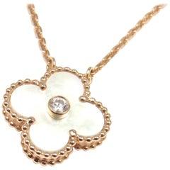 Van Cleef & Arpels Ltd Ed Alhambra Diamond Mother-of-Pearl Rose Gold Necklace
