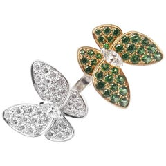 Van Cleef & Arpels Two Butterfly Diamond Tsavorite Between Finger Gold Ring