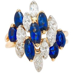 Oscar Heyman Vintage Blue Sapphire Diamond Cocktail Ring
