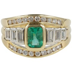 1.0 Carat Colombian Emerald and Diamond Vintage Ring