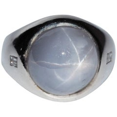 13.40 Carat Natural Star Sapphire Diamond Vintage Ring