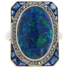 Splendid Art Deco 8 Carat Natural Black Opal Sapphire Diamond Ring