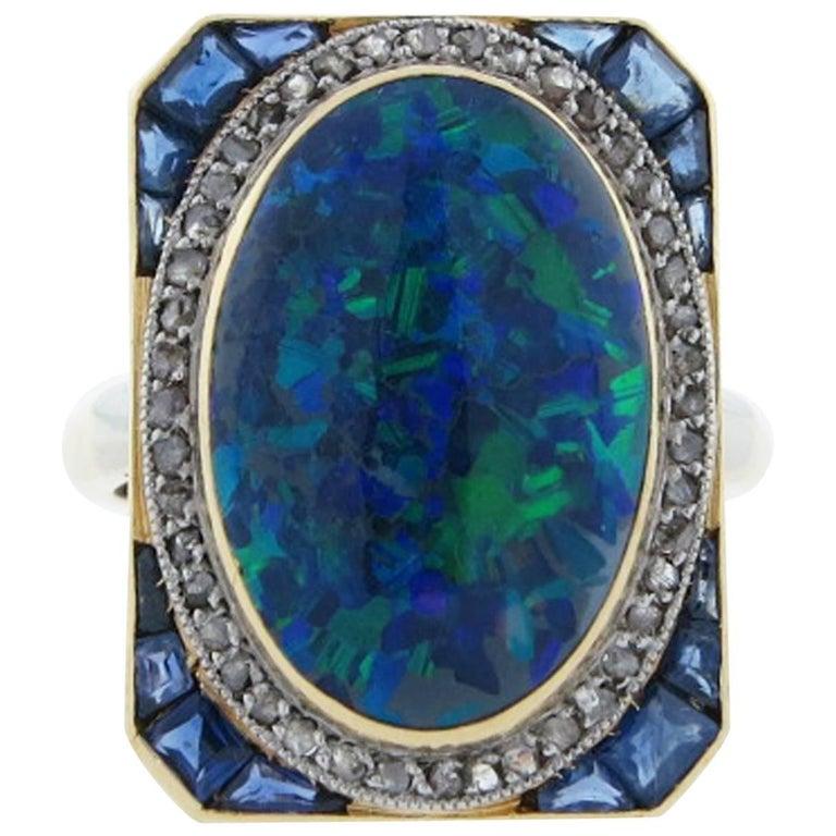 Splendid Art Deco 8 Carat Natural Black Opal Sapphire Diamond Ring