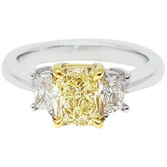 GIA Report 1.51 Carat Yellow Radiant Cut Diamond Ring