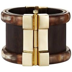Fouché Bespoke Horn Wood Emerald Ruby Cuff Bracelet