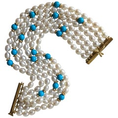 Six Strand 18 Karat Dragonfly Slide Clasp Pearl Turquoise Bracelet