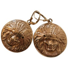 Rose Gold Native American Chief Earrings