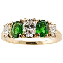 Tsavorite Garnet Diamond Gold Five-Stone Ring