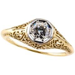 Art Deco 1930s 0.33 Carat Diamond Gold Engagement Ring